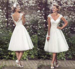 72bef05a1133 New White/Ivory Tea Length V Neck Bridal Gown Wedding Dress Custom ...