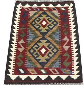 Original Handmade Afghan Tribal Dark Rustic Geometric Wool Kilim Rug 61x81cm Ebay