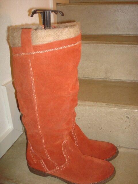 botas de cuero cuero de genuino serraje nuevo talla 40 naranja 0e930c