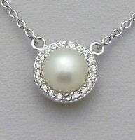.925 Sterling Silver 8mm White Pearl Halo Pendant Necklace - June Birthstone