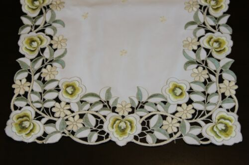 Embroidered Polyester Cutwork Green Flower Placemat Table Runner Dresser Scarf