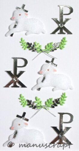 ARTOZ illustration 3d-sticker moutons croix argent