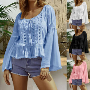Women-6-20-Boho-Retro-Bell-Sleeve-Blouse-hollow-Lace-peasant-Top-Casual-Shirt