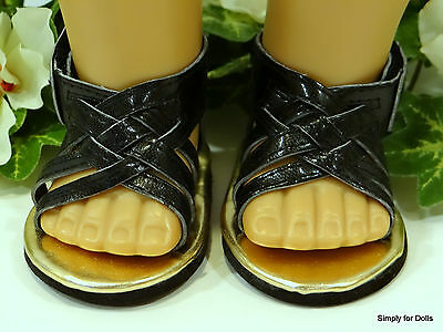 """BLACK Braided DOLL SANDALS SHOES fits 18"""" AMERICAN GIRL Doll Clothes C/Z"""