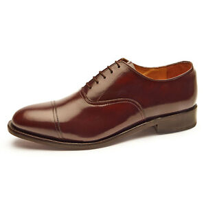 Image is loading Samuel-Windsor-Mens-Classic-Oxford-Handmade-Chestnut-Brown-