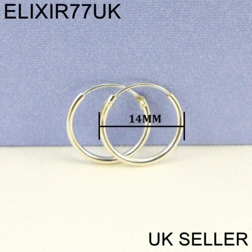925 STERLING SILVER HOOP SLEEPER EARRINGS 8-50mm SMALL LARGE NOSE SET BALL RING