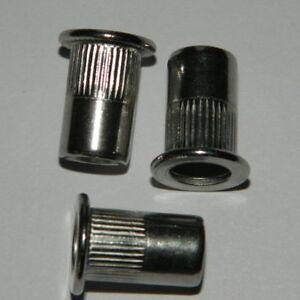 100 M8 Edelstahl A2 Blindnietmutter Flachkopf 0,5-3,0mm