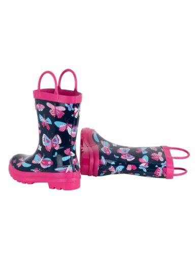 BNWT Hatley Girls Pretty Butterflies Rainboots Wellies Rain Boots Pink Blue Cute