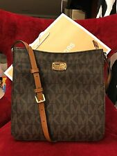 NWT MICHAEL KORS PVC JET SET TRAVEL LG MESSENGER CROSSBODY BAG IN BROWN