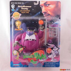 Space Jam figurants Swackhammer et Tweety avec cage à cerceau Hangtime 1996 Wb Playmates 43377176558