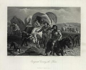 "1874 engraving ""Emigrants Crossings the Plains"""