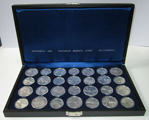 1976-Montreal-Canada-OLYMPIC-Sterling-SILVER-coins-set-28-pcs