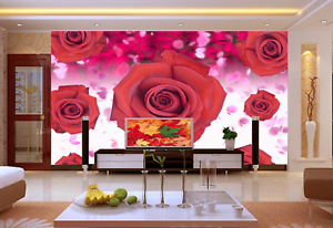 3D Bright Red pinks 74 Wall Paper Murals Wall Print Wall Wallpaper Mural AU Kyra