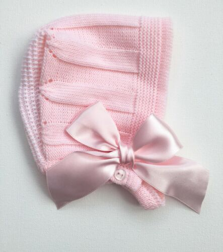 Baby Girls Knitted Bonnet Hat Satin Bow Pink Spanish Christening 0-9 Months