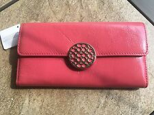 NWT COACH F46999 Alex patent slim envelope long wallet  Pomegranate with Defect