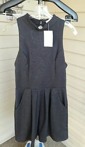 Urban-Outfitters-Silence-and-Noise-high-neck-a-line-dress-Black-Large