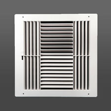 4-way plastic side wall register with multi-shutter damper bright white 10