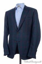 ISAIA Current Gregory Blue Check CASHMERE SILK Blazer Sport Coat Jacket - 42 R