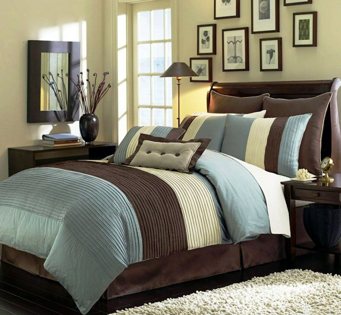 8-Piece Luxury Stripe Comforter Set Bed-In-A-Bag bluee (5 Sizes)