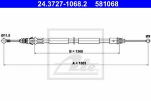 Seilzug Feststellbremse für Bremsanlage Hinterachse ATE 24.3727-1068.2