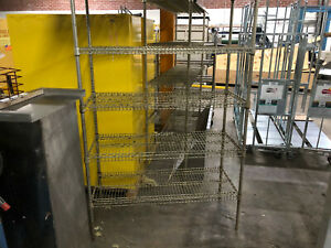 "Steel Mesh Storage Rack 48"" Wide x 21"" Deep x 75"" Tall Five Shelves Used"