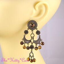 Vintage Gypsy Ethnic Bronze Tone Chandelier Earrings w/ Tiger Eye Effect Beads