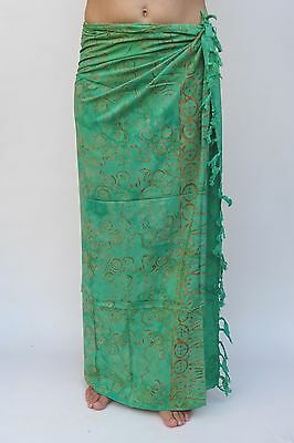 NEW EXTRA LARGE LONG UNISEX PREMIUM QUALITY GREEN BEACH SARONG WRAP BNIP/saL523P
