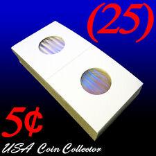 (25) Nickel Size 2x2 Mylar Cardboard Coin Flip for Storage | 5 Cent Paper Holder