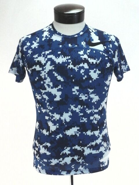 NIKE PRO Hypercool Shirt Blue Camo Slim Compression Active Top Men's M/L Fitted