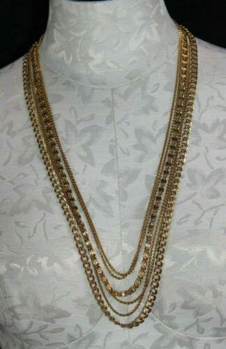 Vintage Monet Necklace Fine Chain Bar Necklace Long Multi Strand