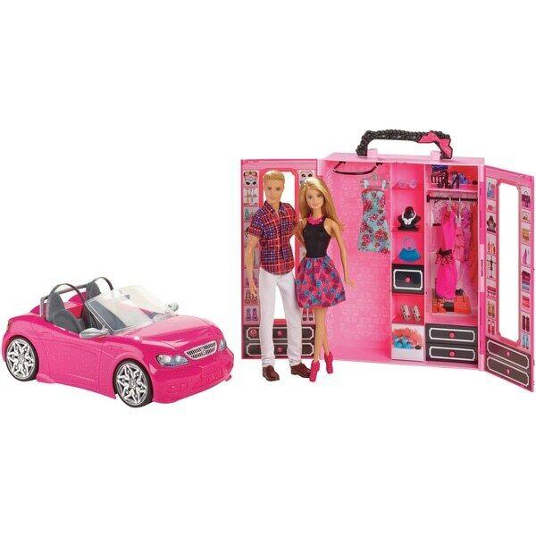 Abito Barbie su e  eare armadio e auto converdeibile con 2 Bambole  vendita scontata