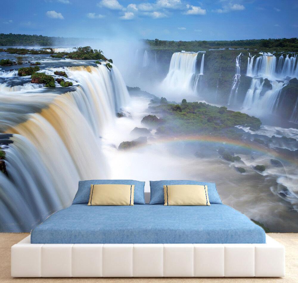Waterfall Nature Rainbow Tree Sky Photo Wallpaper Wall Mural Home Bedroom Deco