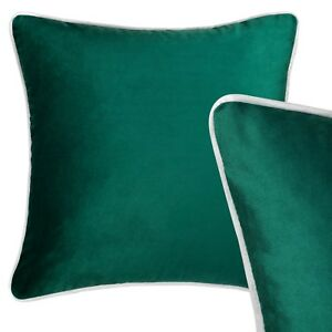 100-Velvet-Dark-Green-Cushion-Grey-Piping-Pillow-Case-Sofa-Seat-Cover-18in-45cm