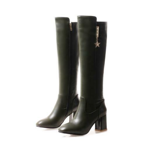 Details about  /Women Outdoor Square Toe Zipper Block Heel Mid Calf Knee High Biker Boots Punk D