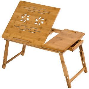 Tavolino Pieghevole E Portatile Da Letto Per Pc Notebook Tavolo Bambu Cassetto Ebay