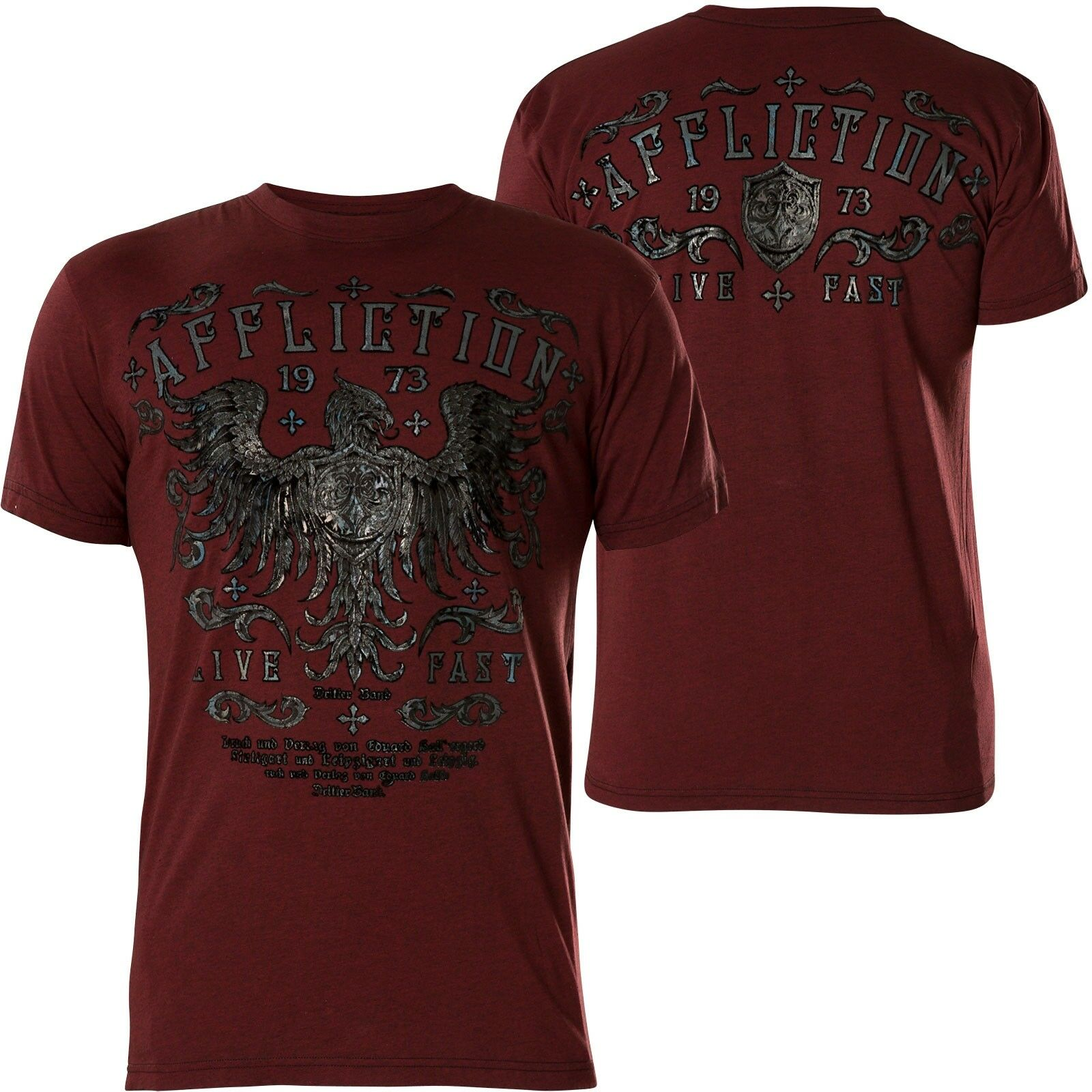 Affliction T-Shirt Royal Pine Wine Red
