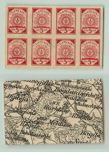 Latvia-1918-SC-1-MNH-black-and-white-map-block-of-8-rt8508