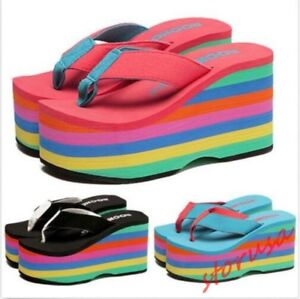 Image is loading Womens-Rainbow-Platform-Thong-Wedges-High-Heels-Sandals-