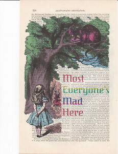 Alice in Wonderland Cheshire Cat In Tree Color Art Print On Antique Book Page