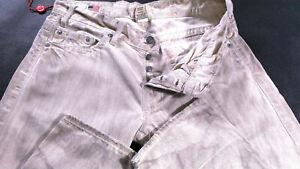 Men-039-s-True-Religion-Jeans-32-X-34-Logan-coupe-droite-en-Beige-Oil-laver-RRP-180