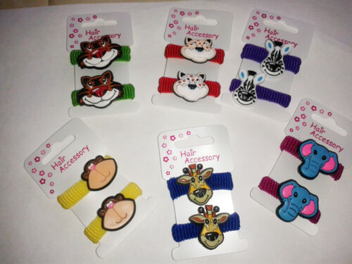 girls hair bobbles or ponios with colourful animal characters new