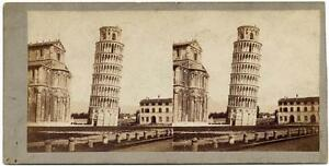 Leaning tower of Pisa antique albumen art photo by Van Lint Italy