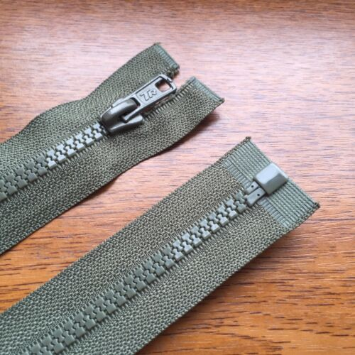 """No 5 weight 28/""""// 71 CM BEST QUALITY KHAKI GREEN CHUNKY PLASTIC OPEN END ZIP"""