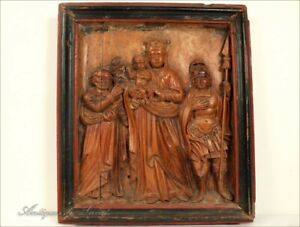 Bas-Relief-Vierge-a-l-039-enfant-et-Saints-XVIIIe