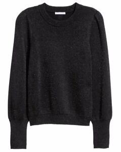 1420b637fff Details about BNWT H&M Glittery Jumper Size S 10 12 Black Lurex Knit Top  Christmas Festive New