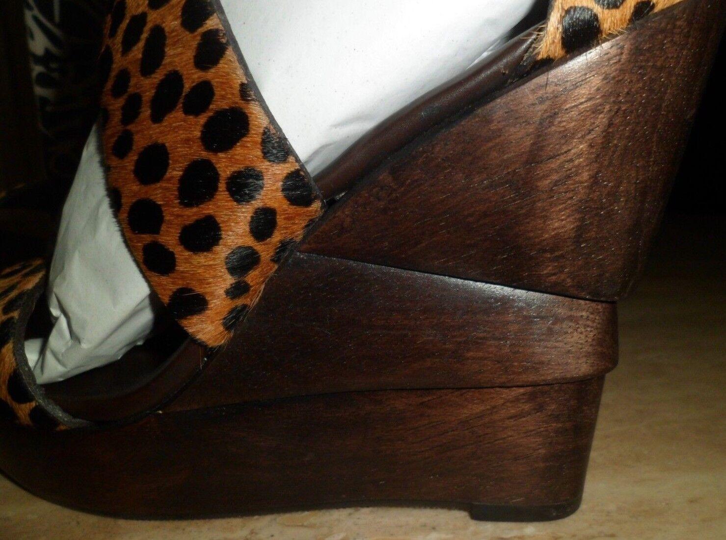 DIANE VON FURSTENBERG  Opal Sandales calf hair wooden wedge Sandales Opal 36.5  BNIB ded378