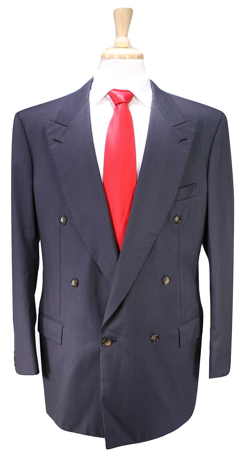 BRIONI  Handmade in  Navy/Braun Woven Double Breasted Wool Suit 42L