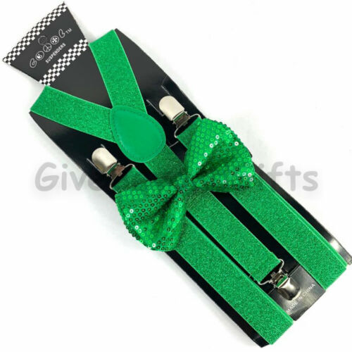 Suspender and Bow Tie Adults Men St Patrick Green Sequin Formal Wear Accessories