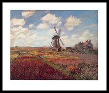 Claude Monet Tulpenfeld in Holland Poster Kunstdruck mit Alu Rahmen 24x30cm