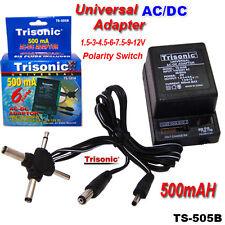 UNIVERSAL AC DC ADAPTER 1.5V 3V 4.5V 6V 9V 12V 500mA 6 Plug Dual Voltage 110/220
